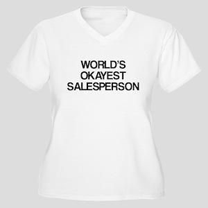 World's Okayest Salesperson Women's Plus Size V-Ne