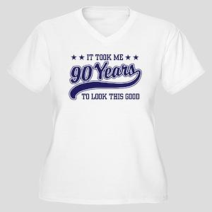 Funny 90th Birthday Women's Plus Size V-Neck T-Shi
