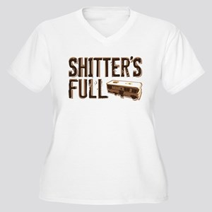 Shitter's Full Women's Plus Size V-Neck T-Shirt