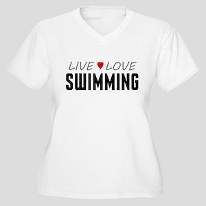 Live Love Swimming Women's Plus Size V-Neck T-Shir