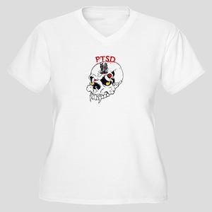 PTSD SKULL Women's Plus Size V-Neck T-Shirt