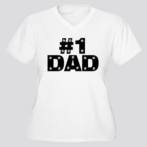 #1 Dad Women's Plus Size V-Neck T-Shirt