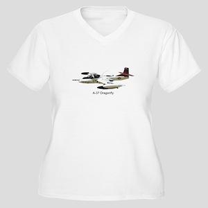 A-37 Dragonfly Women's Plus Size V-Neck T-Shirt