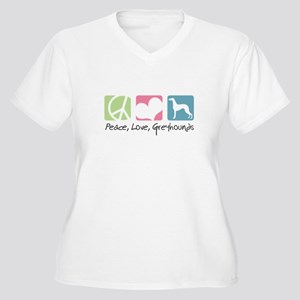 Peace, Love, Greyhounds Women's Plus Size V-Neck T