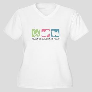 Peace, Love, Coton de Tulear Women's Plus Size V-N
