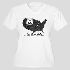 Retro Route66 Women's Plus Size V-Neck T-Shirt