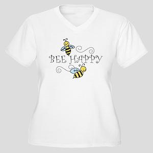Bee Happy Women's Plus Size V-Neck T-Shirt