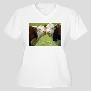 Kissing Cows Women's Plus Size V-Neck T-Shirt