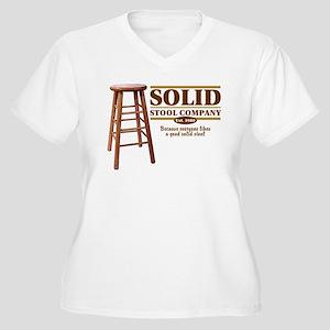 Solid Stool Women's Plus Size V-Neck T-Shirt