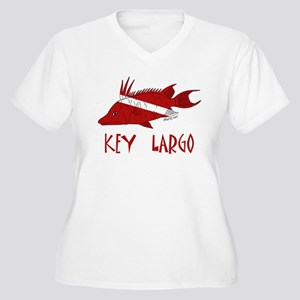 Key Largo Women's Plus Size V-Neck T-Shirt