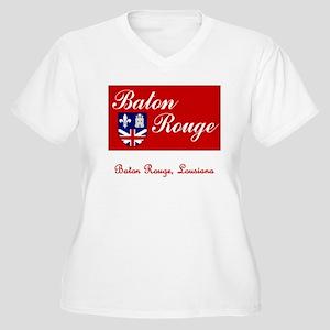 Baton Rouge LA Flag Women's Plus Size V-Neck T-Shi