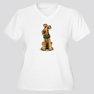 Airedale Welsh Terrier Women's Plus Size V-Neck T-