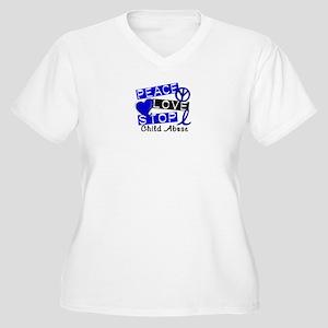 Peace Love Stop C Women's Plus Size V-Neck T-Shirt