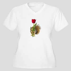Squirrel Red Tulip Women's Plus Size V-Neck T-Shir