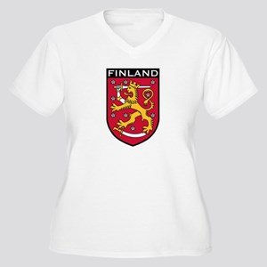 Finland Coat of Arms Women's Plus Size V-Neck T-Sh