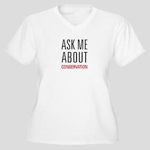 Ask Me About Conservation Women's Plus Size V-Neck