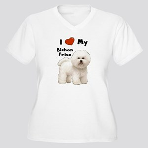I Love My Bichon Frise Women's Plus Size V-Neck T-