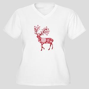 Christmas deer with snowflakes pattern Women's Plu