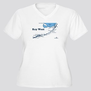 Key West - Map Design. Women's Plus Size V-Neck T-