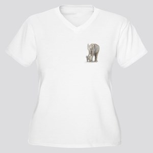 Mother and baby elephant Women's Plus Size V-Neck