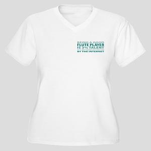 Good Flute Player Women's Plus Size V-Neck T-Shirt