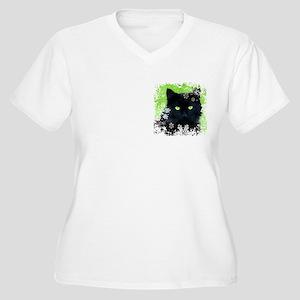 BLACK CAT & SNOWF Women's Plus Size V-Neck T-Shirt
