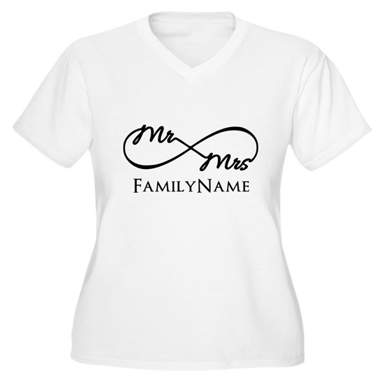 b9dcb1f258 Custom Infinity Mr. and Mrs. Women's Plus Size V-Neck T-Shirt Custom ...