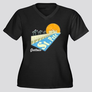 GSStPete01Sm Women's Plus Size Dark V-Neck T-Shirt