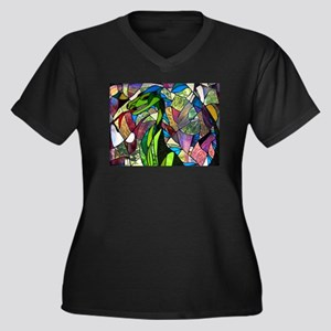 Mystic Dragon in Stained Glass Plus Size T-Shirt