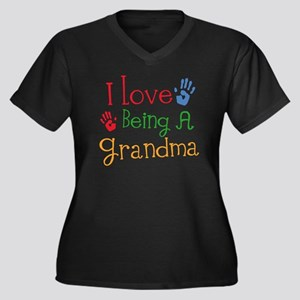 I Love Being A Grandma Women's Plus Size V-Neck T-