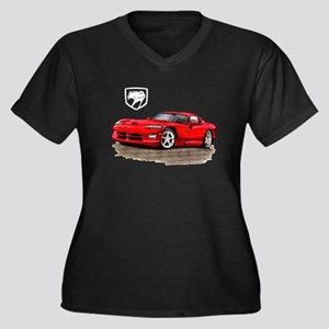 Viper Red Car Women's Plus Size V-Neck Dark T-Shir