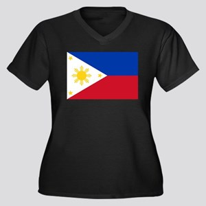 Philippine flag Women's Plus Size V-Neck Dark T-Sh