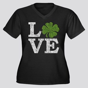 LOVE with a shamrock Women's Plus Size V-Neck Dark