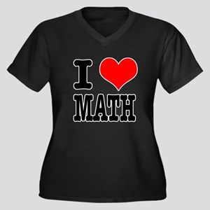 I Heart (Love) Math Women's Plus Size V-Neck Dark
