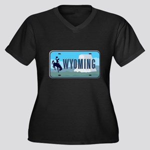 Wyoming Women's Plus Size V-Neck Dark T-Shirt