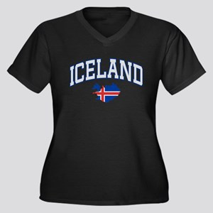 Iceland Map English Women's Plus Size V-Neck Dark