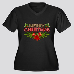 Merry Christmas Berries & Holly Plus Size T-Shirt