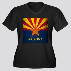 Grunge Arizona Flag Women's Plus Size V-Neck Dark