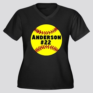 Personalized Softball Women's Plus Size V-Neck Dar