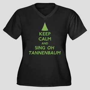 Keep Calm Christmas Women's Plus Size V-Neck Dark