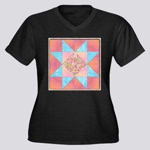 Sunset and Water Quilt Square Plus Size T-Shirt