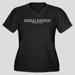 Kenai Fjords Women's Plus Size V-Neck Dark T-Shirt