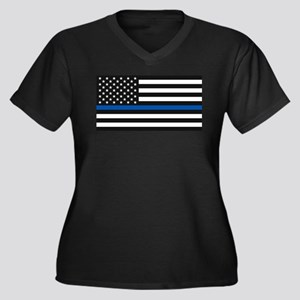 Thin Blue Line Decal - USA Flag Plus Size T-Shirt