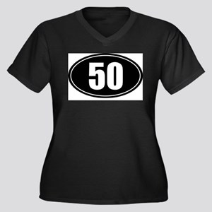 50 mile black oval sticker decal Women's Plus Size