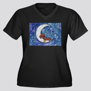 Dachshund on the Moon Plus Size T-Shirt