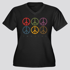 Imagine - Six Signs of Peace Women's Plus Size V-N