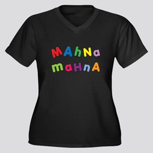 Mahna Mahna Women's Plus Size V-Neck Dark T-Shirt