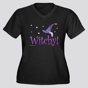 Witchy Hat Women's Plus Size V-Neck Dark T-Shirt