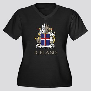 Iceland Coat of Arms Women's Plus Size V-Neck Dark