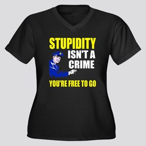 Stupidity Is Women's Plus Size V-Neck Dark T-Shirt